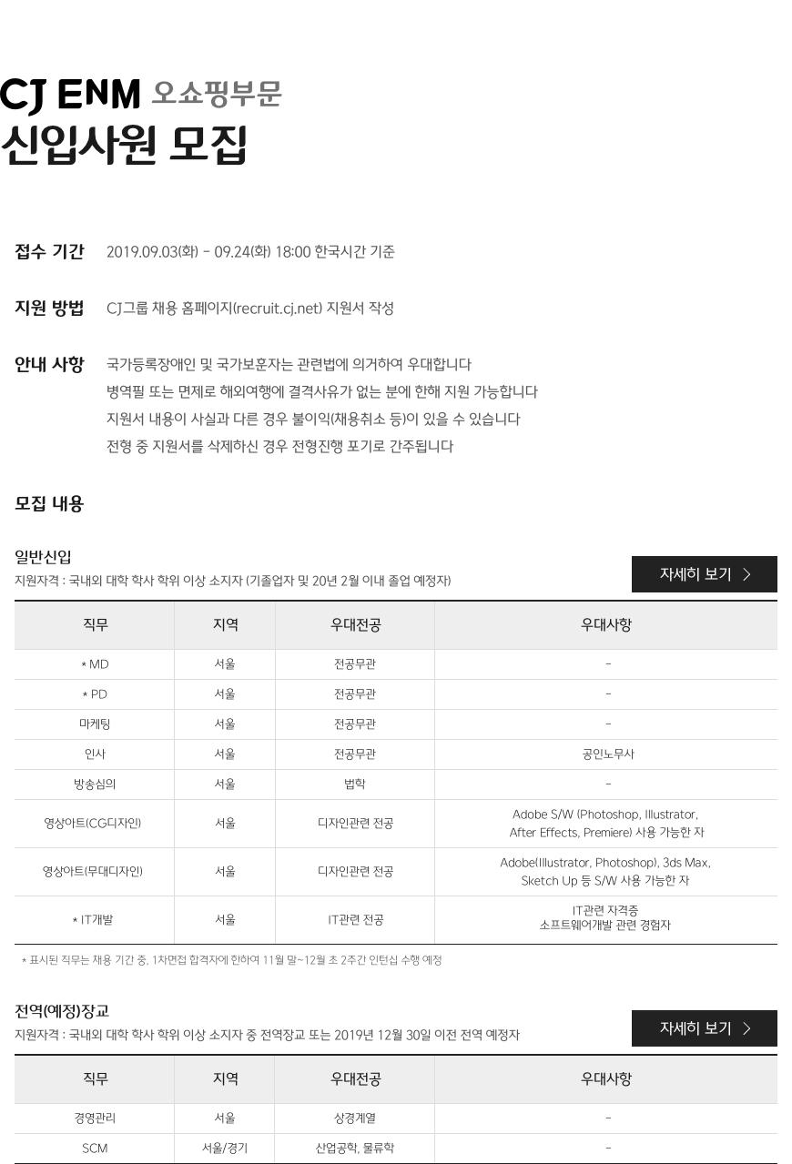 CJ EnM 오쇼핑부문 신입사원 모집