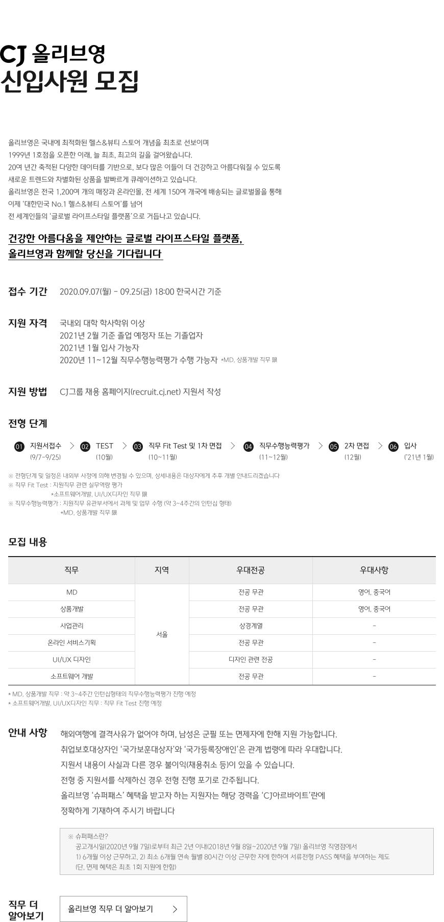 CJ 올리브영 신입사원 모집