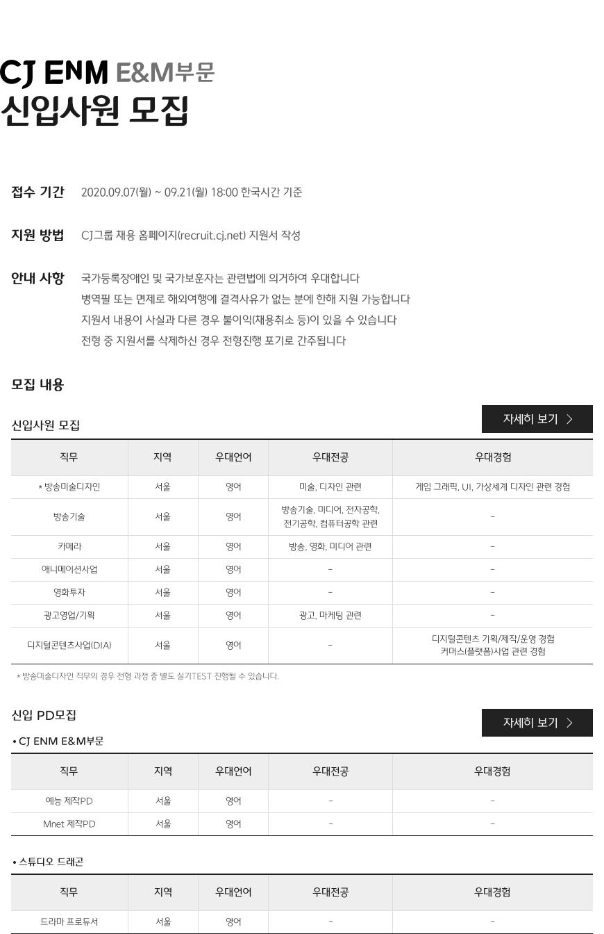 CJ EnM E&M부문 신입사원 모집