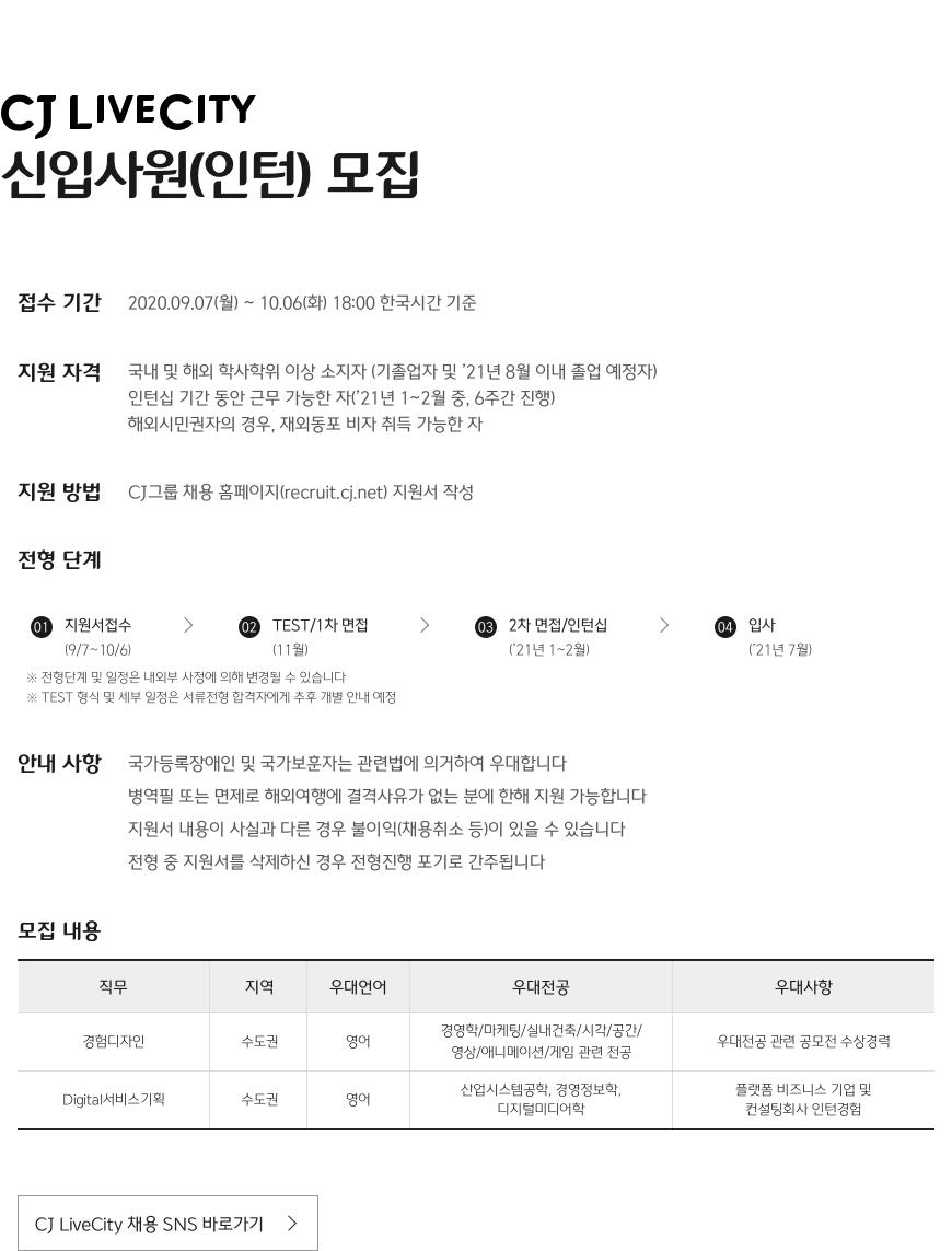 CJ LiveCity 신입사원 모집